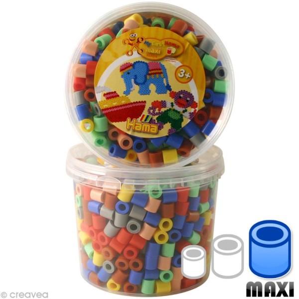 Perles Hama Maxi diam. 1 cm - Assort. 7 couleurs x 600 - Photo n°1