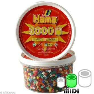 Perles Hama Midi diam. 5 mm - Assort. 22 couleurs x 3000