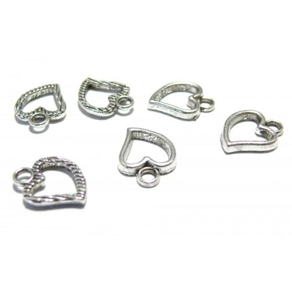 Apprêt bijoux 10 pendentifs breloque coeur VA ref 2Y7817 - Photo n°1