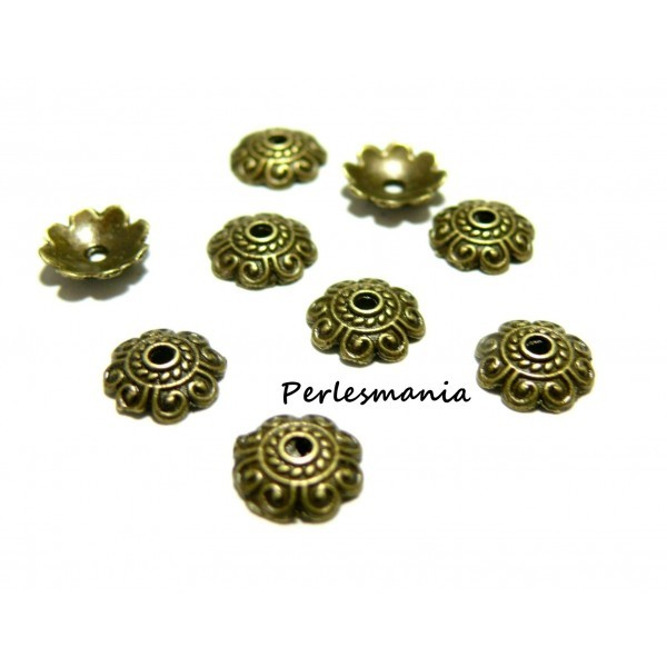 Apprêt et perles 40 pieces 2Y8508 coupelles caps bronze - Photo n°1