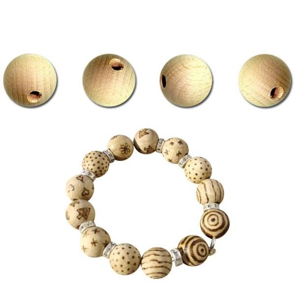 Perle en bois brut 10 mm x 100 - Photo n°1