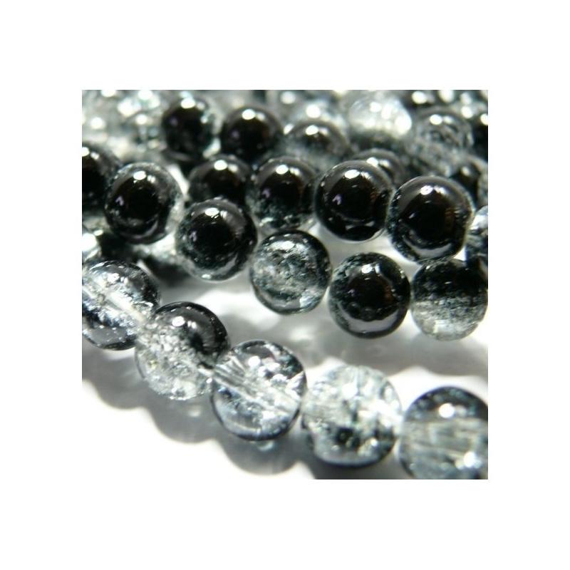50 x Perle en Verre Craquelé Bicolore 8mm Noir