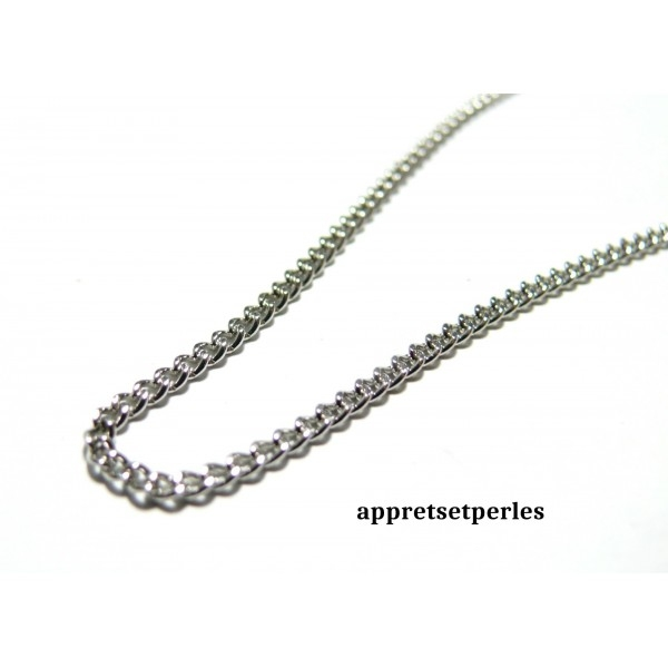 48510113565 Apprêt bijoux 10 m PP ref CHS002Y Chaine maille Argent platine - Photo n°1