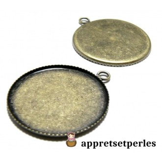 Apprêt bijoux 2 Supports de pendentif 20mm plateau BR