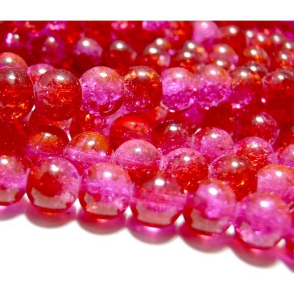 50 perles en verre craquelé 6mm ROUGE ET ROSE