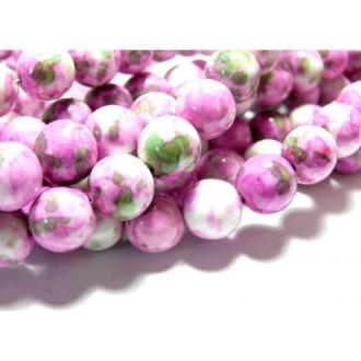 Perles pour bijoux: 10 perles pierres teintées vert et rose 6mm