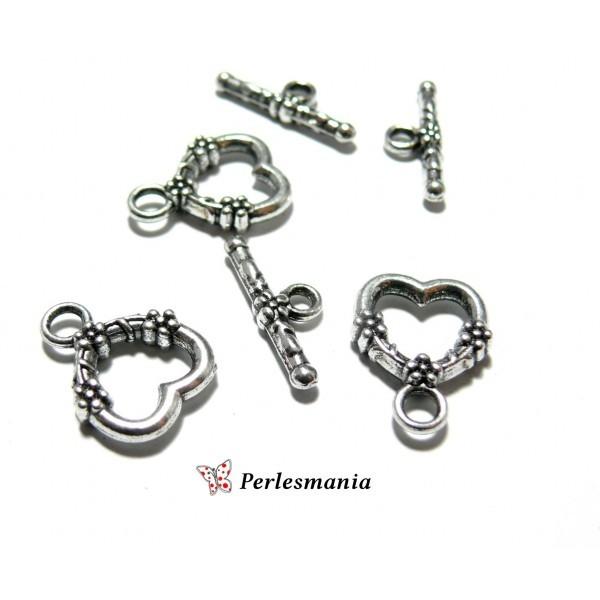 achats meilleur endroit pour divers design Apprêt bijoux: 4 set 2Y1113 magnifique fermoirs Viel argent coeur  travaillés pur création de bijoux