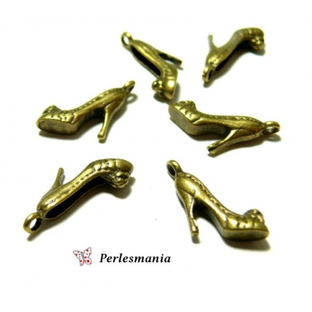 Fournitures pour bijoux: 10 breloques escarpins bronze P15363 - Perlesmania