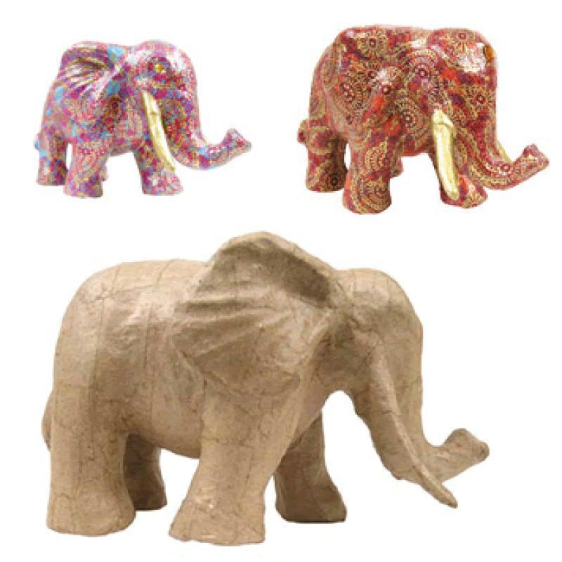 El phant en papier mach 21 cm animaux d 39 afrique d corer creavea - Animaux en papier 3d ...