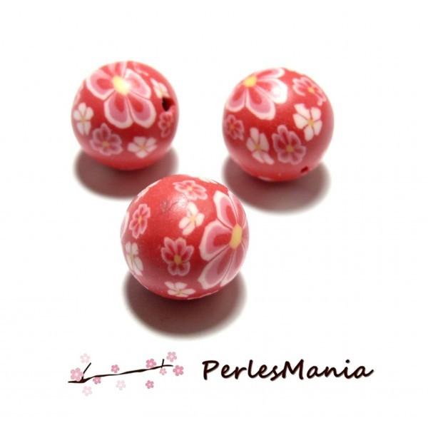 10 perles de fimo flower power rose ref P180y en 12mm TONS ROSE - Photo n°1