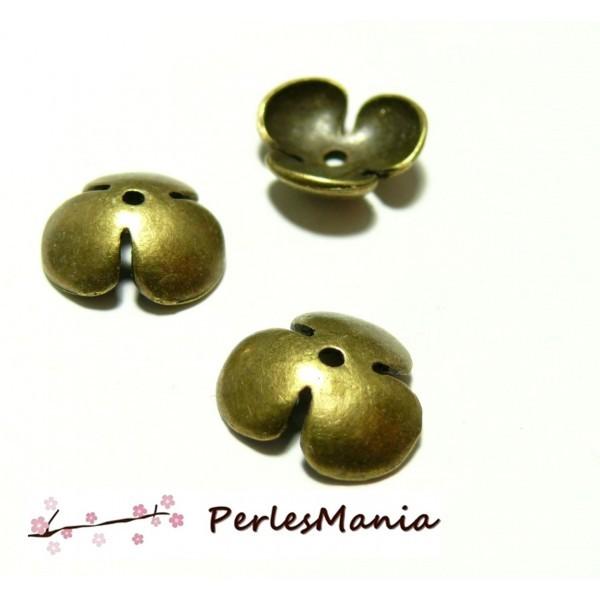 Apprêt pour bijoux: 10 coupelles coquille calottes grandes fleur OB13041 BRONZE - Photo n°1