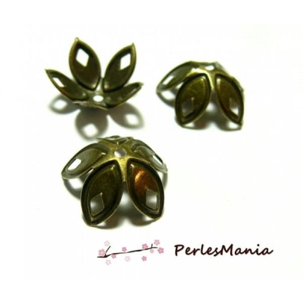 SC0085567 Lot de 2 Magnifiques Coupelles fleurs bronze pour perles 14mm