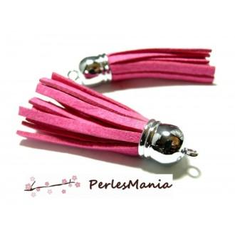10 Pompons breloque passementière 6 cm suédine Rose Fuchsia Argent platine, apprêts et mercerie