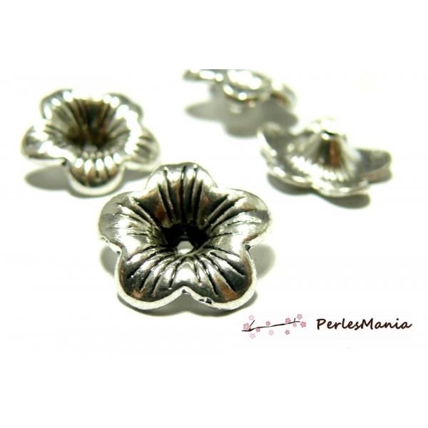 10 perles intercalaires coupelles coquille 2A6425 Fleur 3D Vieil argent - Photo n°1