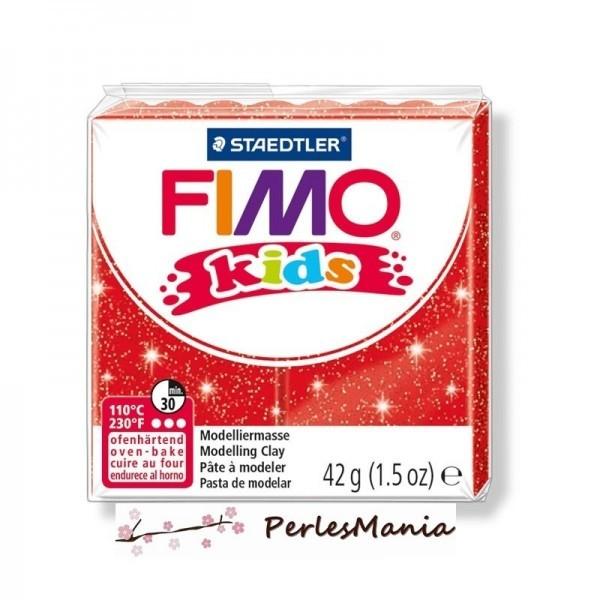 1 PAIN PATE FIMO KIDS ROUGE A PAILLETTE 42gr REF 8030-212 - Photo n°1