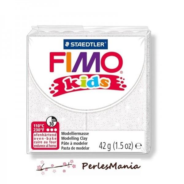 1 PAIN PATE FIMO KIDS BLANC A PAILLETTE 42gr REF 8030-052 - Photo n°1