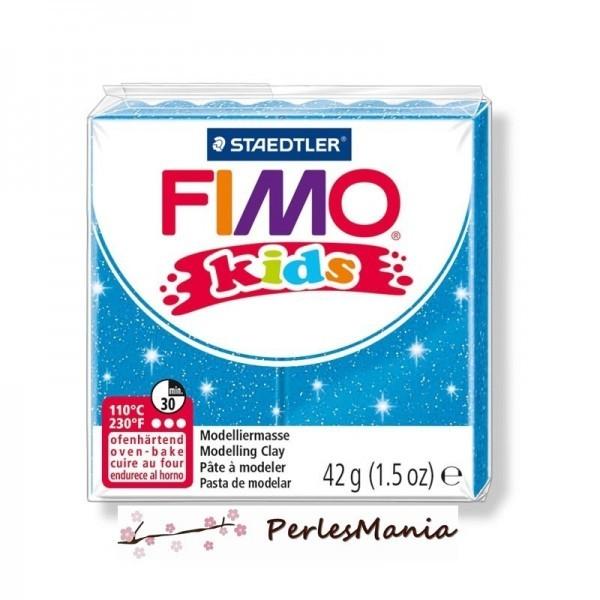 PAIN PATE FIMO KIDS BLEU A PAILLETTE 42gr REF 8030-312 - Photo n°1