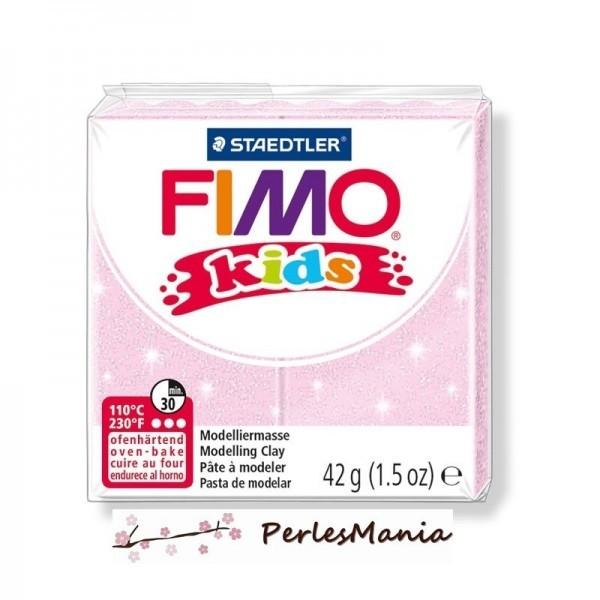 PAIN PATE FIMO KIDS ROSE PALE A PAILLETTE 42gr 8030-206 - Photo n°1