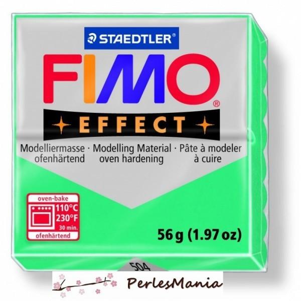 1 pain 56g pate polymère FIMO EFFECT VERT TRANSPARENT 8020-504 - Photo n°1