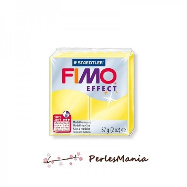 1 pain 56g pate polymère FIMO EFFECT JAUNE TRANSLUCIDE 8020-104 - Photo n°1