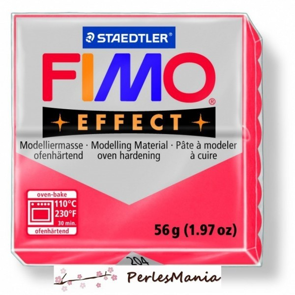 1 pain 56g pate polymère FIMO EFFECT ROUGE TRANSLUCIDE 8020-204 - Photo n°1