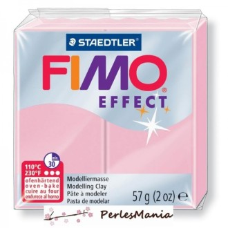 1 Pain 56g pate polymère FIMO EFFECT ROSE PASTEL 8020-205