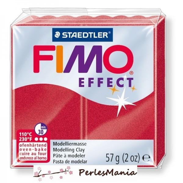 1 pain 56g pate polymère FIMO EFFECT ROUGE RUBIS METALLISE 8020-28 - Photo n°1