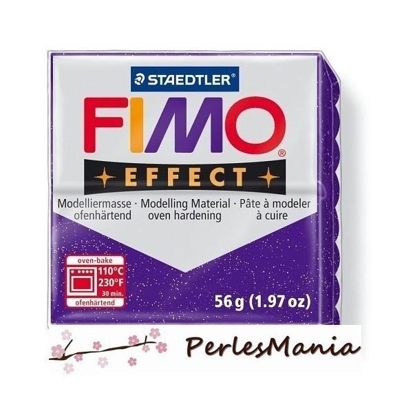1 pain 56g pate polymère FIMO EFFECT LILAS PAILLETE 8020-602 - Photo n°1