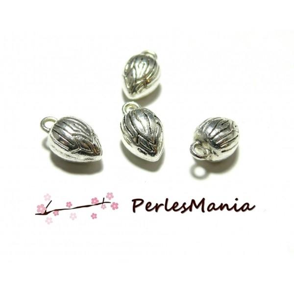 1 Pendentif breloque perle FEUILLE metal argenté DIY création bijoux B94