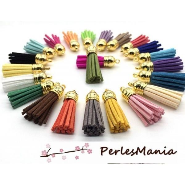 10 pompons breloque passementière 35mm suédine Multicolore DORE - Photo n°1