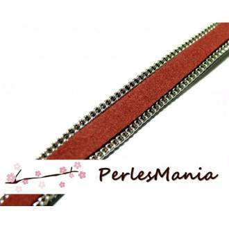 20 Cm de cordon plat cuir chaine Argenté suedine Rouge vin 10mm ref 288