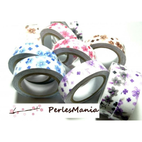 10 Rouleaux de masking tape, ruban adhesif coton FLEURS LIBERTY 15mm H088, DIY - Photo n°1