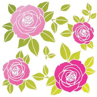 Pochoir Roses 33 x 33 cm