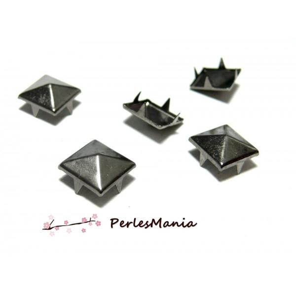 lot de 100 clous rivet 8mm pyramide carré à 4 griffes GUN METAL - Photo n°1