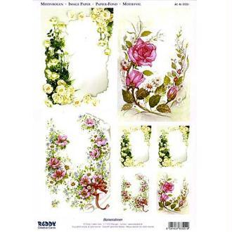 Carte 3D prédécoupée - Angles fleuris 21 x 29,7 cm