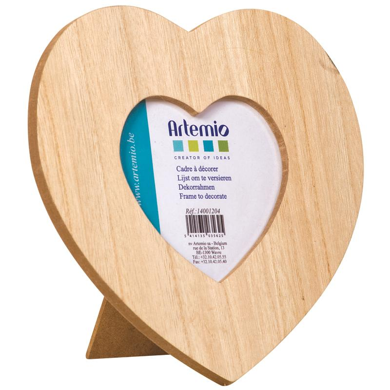 Cadre en bois Coeur 17,5 x 17,5 cm - Photo n°1