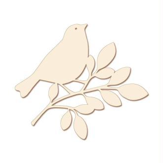 Support à décorer en bois clair Oiseau sur sa branche 10 cm - Lot de 3