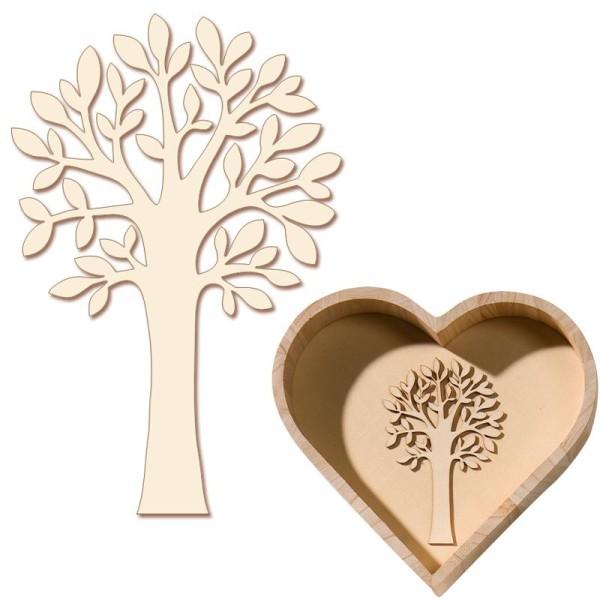 Support à décorer en bois clair Arbre avec feuilles 10 cm - Lot de 3 - Photo n°1