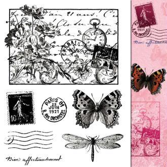 Tampons clear stamp Fleurs postales - Set de 7 tampons