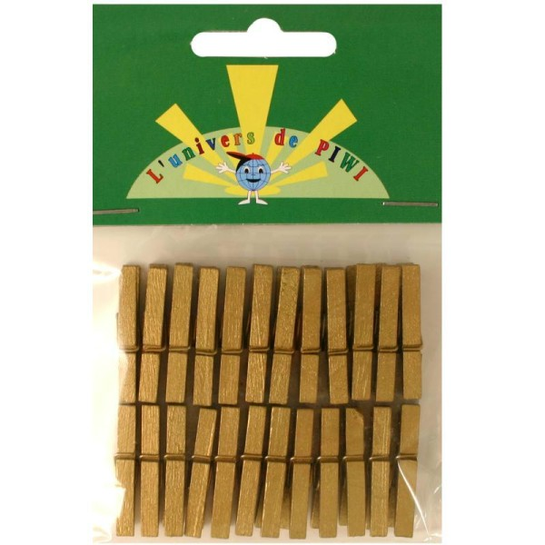 Pinces à linge mini  dorées 3 cm x 24 - Photo n°1