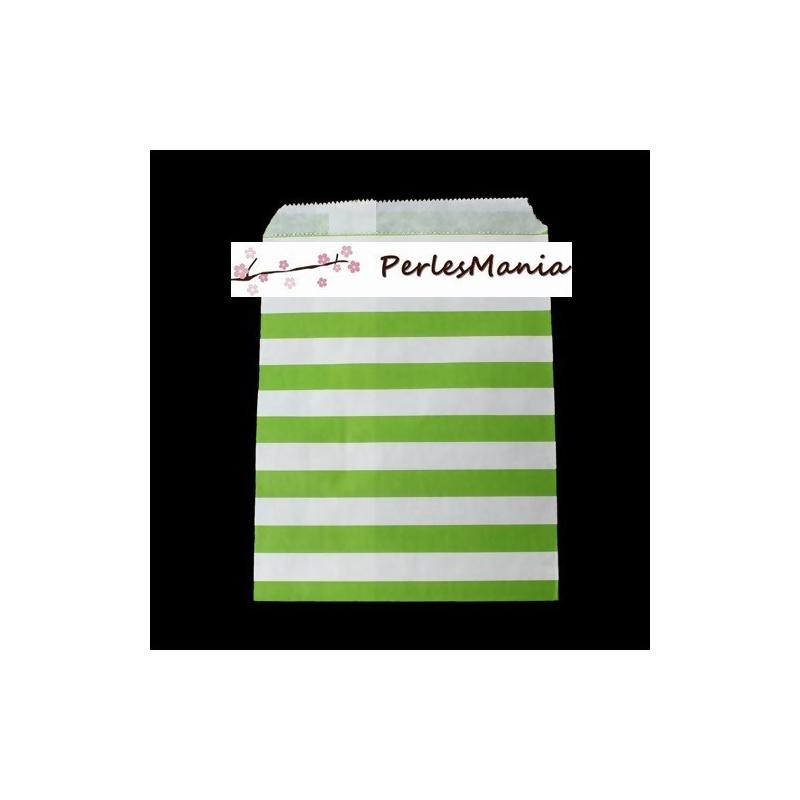 20 pochettes en papier a rayure couleur vert emballage cadeau vintage gouter anniversaire. Black Bedroom Furniture Sets. Home Design Ideas