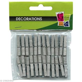Pinces à linge mini argentées 3 cm x 24