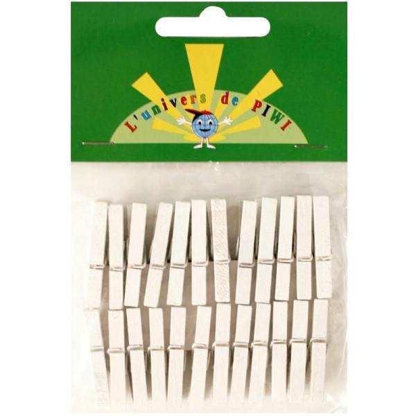 Pinces à linge mini blanc 3 cm x 24 - Photo n°1