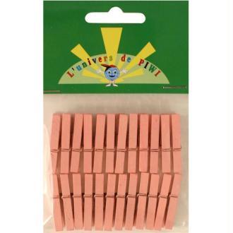 Pinces à linge mini  rose 3 cm x 24