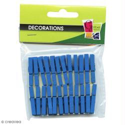 Pinces à linge mini  bleu 3 cm x 24
