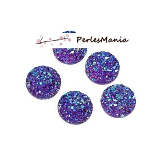 PAX 20 cabochons plat druzy, drusy ronds 12mm S1179021