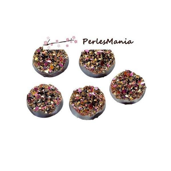PAX 50 cabochons plat druzy, drusy ronds 12mm S1176700 - Photo n°1