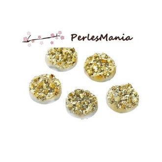 10 Cabochons plat druzy, drusy ronds 12mm ( S1176702 )