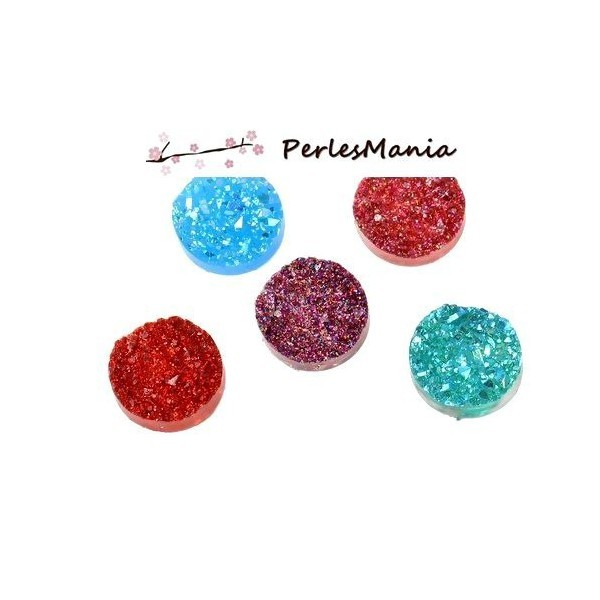 PAX 20 cabochons plat druzy, drusy ronds 12mm MIXED COLOR S1177306 - Photo n°1