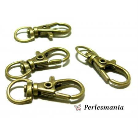 PAX 30 grands fermoirs mousquetons porte clé qualité Metal Bronze 36mm ref 5 - Perlesmania
